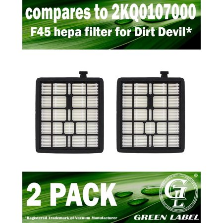 2 Pack For Dirt Devil F45 HEPA Filter (compares to 2KQ0107000). Fits: Pets SD40000 & EZ Lite SD40010 Canister Vacuum Cleaners. Genuine Green Label