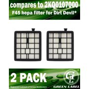 2 Pack For Dirt Devil F45 HEPA Filter (compares to 2KQ0107000). Fits: Pets SD40000 & EZ Lite SD40010 Canister Vacuum Cleaners. Genuine Green Label product.