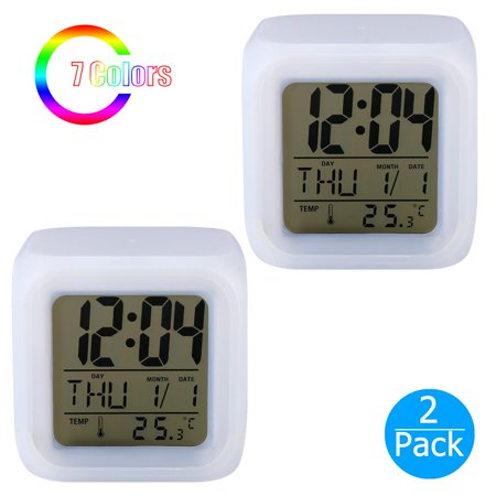 Cobalt Display Clock (2-pack Digital Alarm Thermometer Night Glowing Cube 7 Colors Clock LED Change LCD LED Changing Digital Alarm Clock with Snooze, Music and Large Display (White))