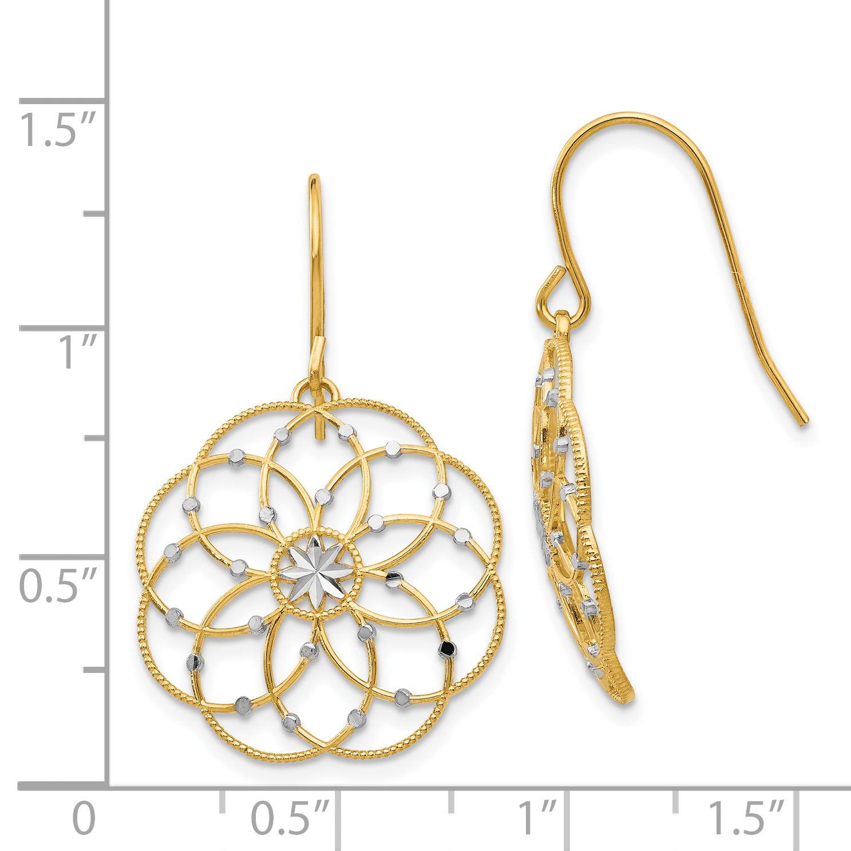 14k Yellow Gold Shepherd Hook Drop Dangle Chandelier Earrings Fine Jewelry Gifts For Women For Her - image 1 de 2