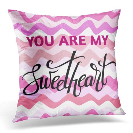Sweetheart Pillow Cover (ARHOME Pink Beloved for Valentine's Day with Sweetheart Lettering Calligraphy You are My Waves Celebrate Pillow Case Pillow Cover 18x18)