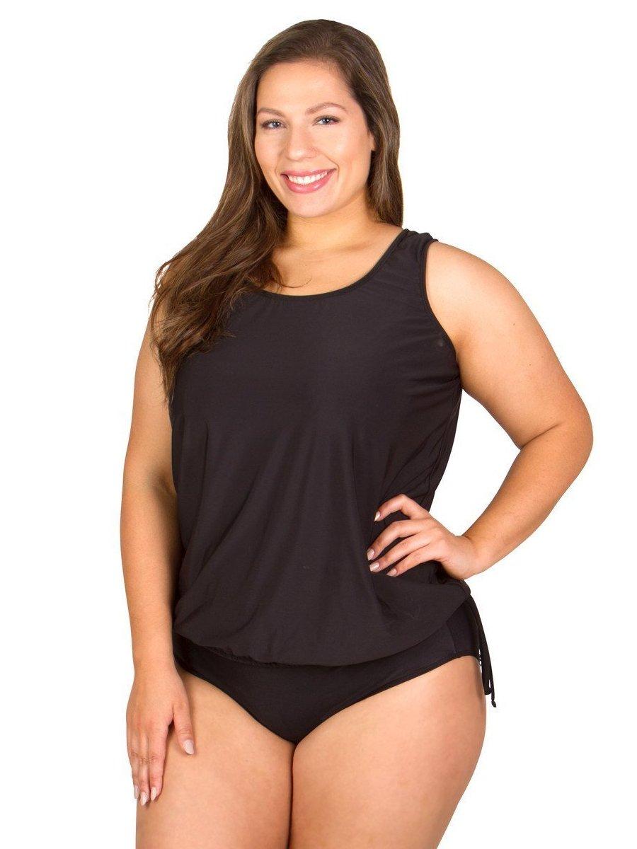Plus-Size Swimwear Top - Wear Your Own Bra - Solid Black