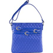 Quilted Multi Belt Adorned Vertical Crossbody Bag in Blue