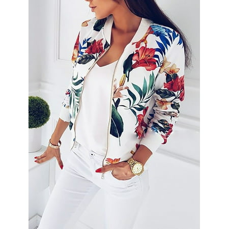 Fashion Womens Ladies Retro Floral Zipper Up Bomber Jacket Casual Coat Outwear (Top Gun Bomber Jacket)