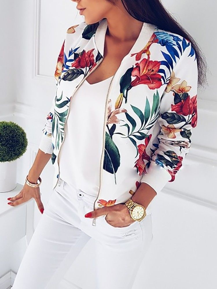 Fashion Womens Ladies Retro Floral Zipper Up Bomber Jacket Casual Coat Outwear