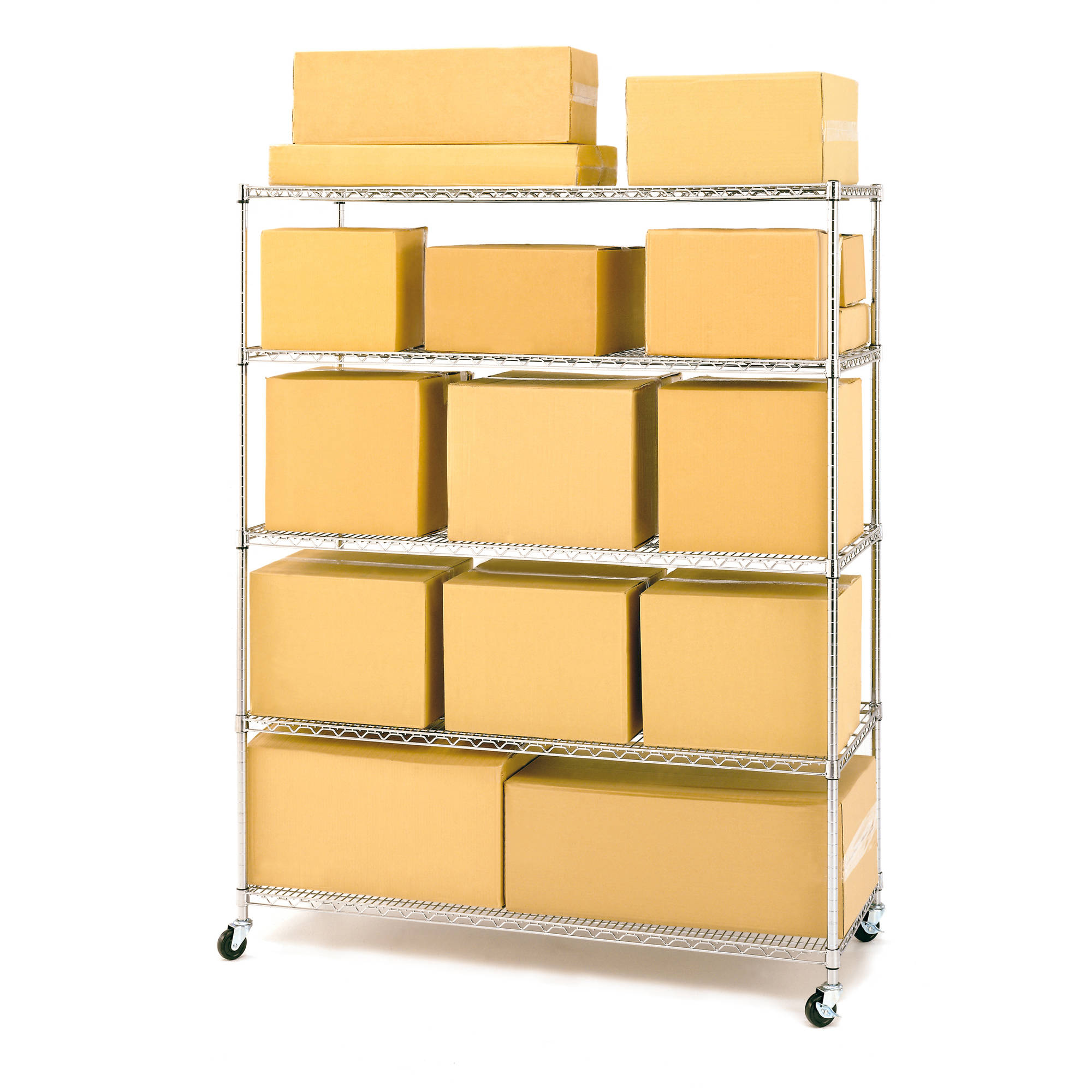 Seville Classics 5-Shelf Steel Wire Shelving System with Casters ...