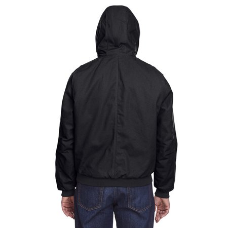 Mens Tall Highland Washed Cotton Duck Hooded Jacket - BLACK - 4XT