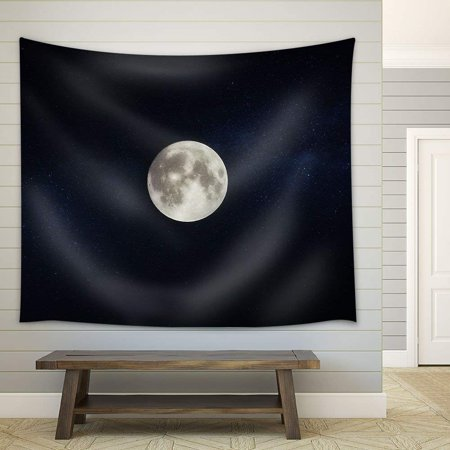 wall26 - Full Moon on Dark Starry Sky Background - Fabric Wall Tapestry Home Decor - 51x60 inches