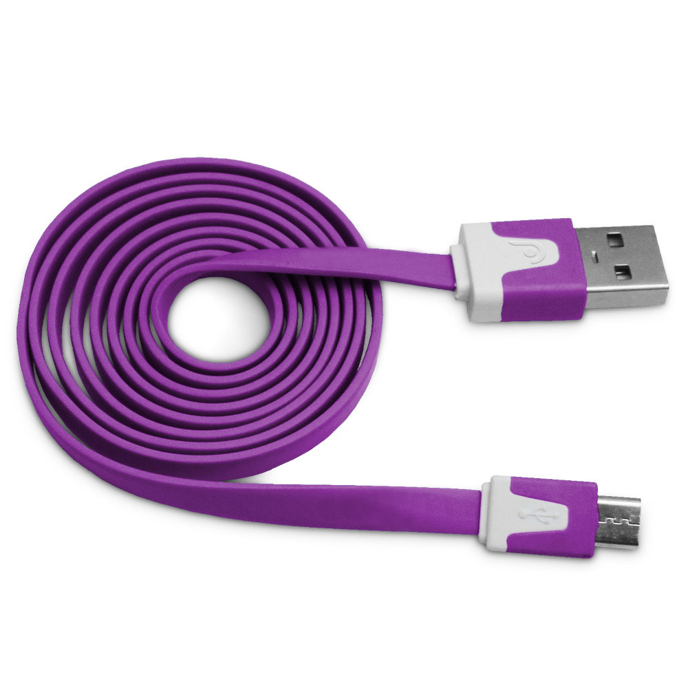 Fosmon (3.4FT) 2.1v Vivid MICRO USB Flat Cable for Samsung Galaxy S6/S6 Edge S5/S4, Motorola Moto G/X, HTC One Purple