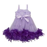 Girls Lavender Feather Rosette Sophia Flower Girl Dress 12M-7