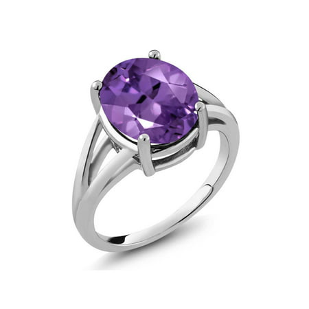 4.60 Ct Oval 12x10mm Amethyst Gemstone 925 Sterling Silver Ring