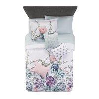 Mainstays Jade Floral 8-10 Piece Bed in a Bag Bedding Set w/BONUS Sheet Set + Pillows