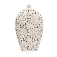 "19.5"" White Textured Lacey Large Vase"