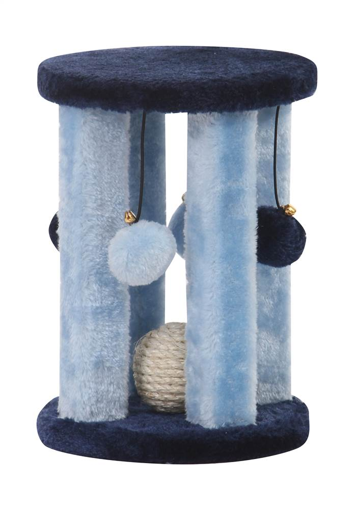 4 Column Cat Toy w Sisal Ball in Blue by Pet Pal