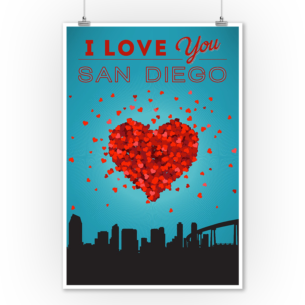 I Love You San Diego, California - Lantern Press Artwork (9x12 Art Print, Wall Decor Travel Poster)