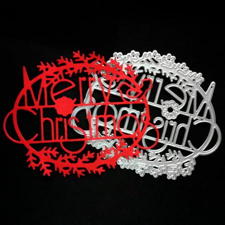 Pewter Metal Embellishments - Merry Christmas Metal Cutting Dies Stencils Scrapbooking Embossing DIY Crafts