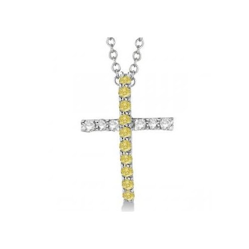 Seven Seas Jewelers Yellow & White Diamond Cross Pendant Necklace 14k White Gold (0.25ct) by Brand New