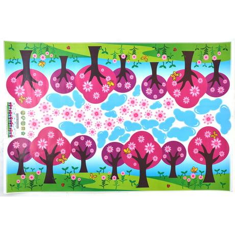 S jour pvc arbres d 39 ornement fleur imprime mur d calque d for Autocollant mural walmart