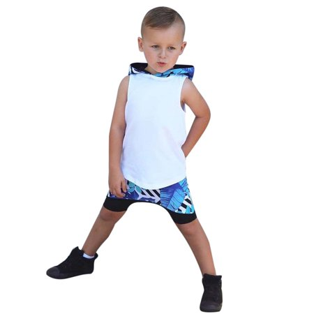 e8b1d3964e0a Mosunx - Mosunx Cute Toddler Kids Baby Boy Hooded Vest Tops+Short ...