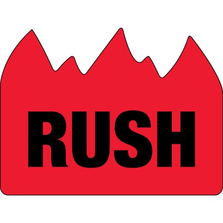 DL1401 Red / Black 1 1/2 Inch x 2 Inch Rush (Bill of Lading) Flame Labels Made In USA ROLL OF 500 ()