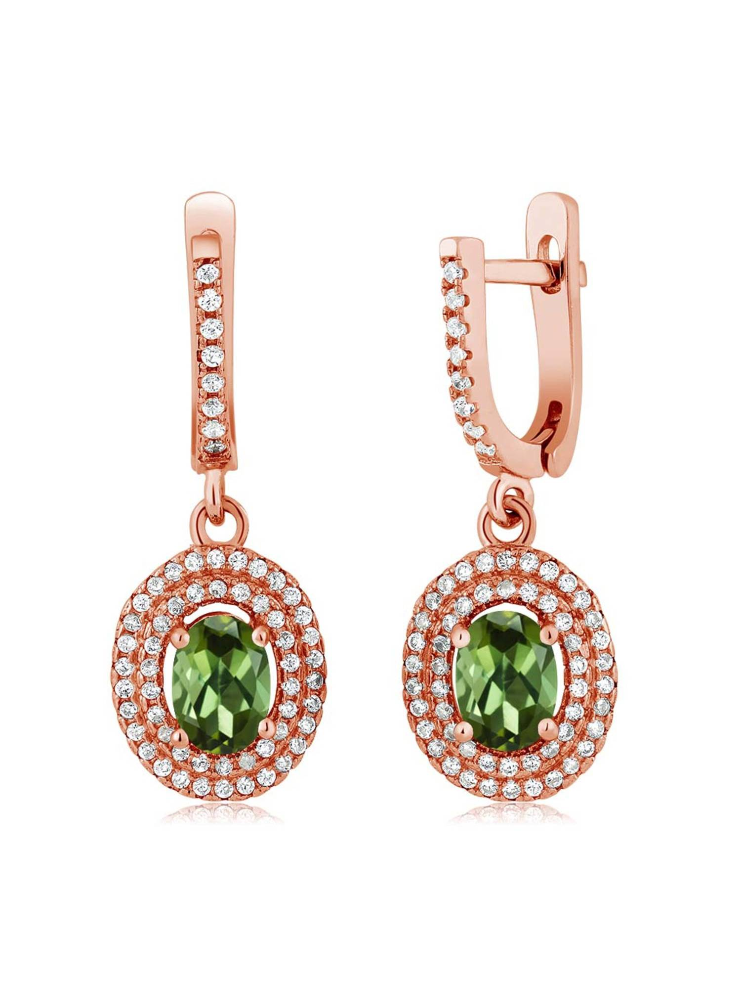 2.52 Ct Oval Green Tourmaline 925 Rose Gold Plated Silver Earrings by