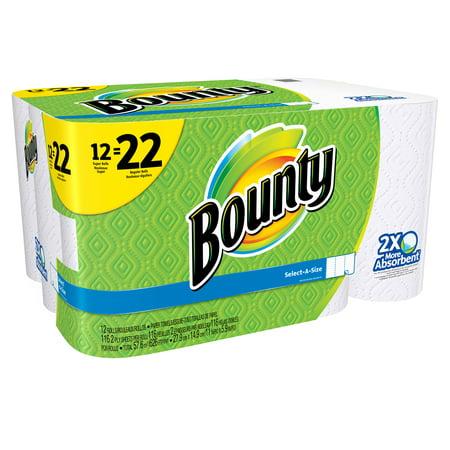 bounty select a size paper towels white 12 super rolls 22 regular rolls. Black Bedroom Furniture Sets. Home Design Ideas