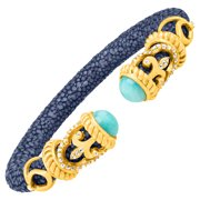 Natural Amazonite & White Topaz Rope Scroll Stingray Cuff Bracelet in 18kt Gold-Plated Sterling Silver