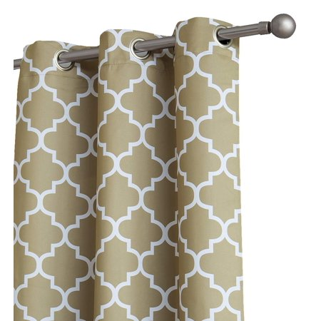 HLC.ME Lattice Print Thermal Grommet Room Darkening Blackout Patio Door Curtain for Sliding Glass Door - 100