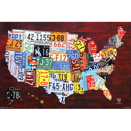 License Plate Map of the United States Poster -