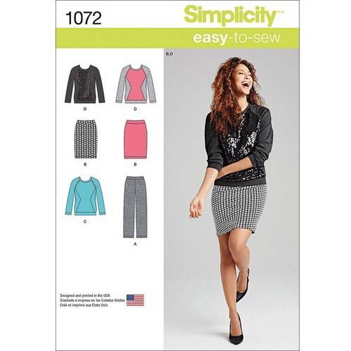 Simplicity Misses' Size 16-24 Knit Pants, Skirt & Top Pattern, 1 Each