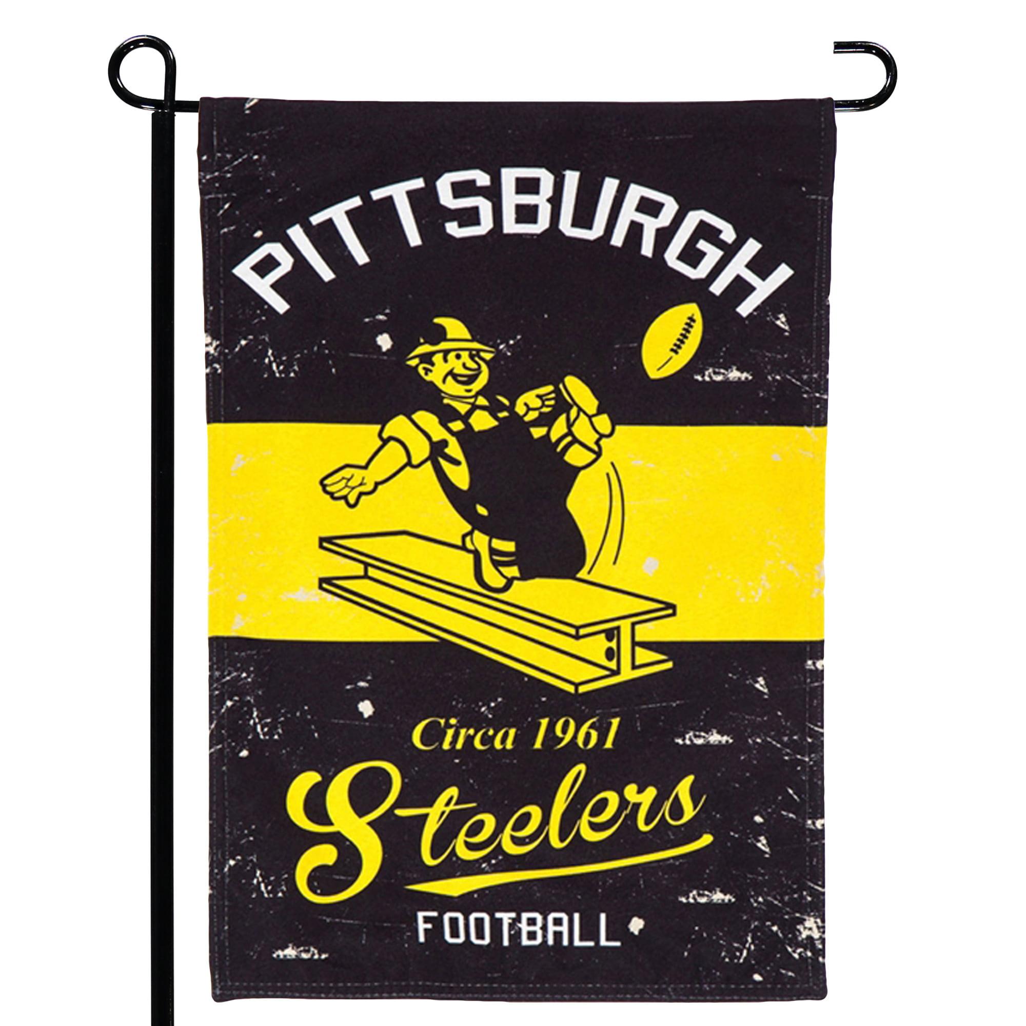 "Pittsburgh Steelers 12.5"" x 18"" Vintage Linen Garden Flag - No Size"