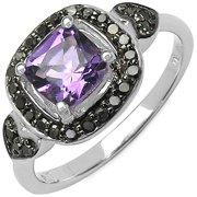 Malaika  Sterling Silver 1ct TGW Genuine Amethyst and Black Diamond Accent Ring