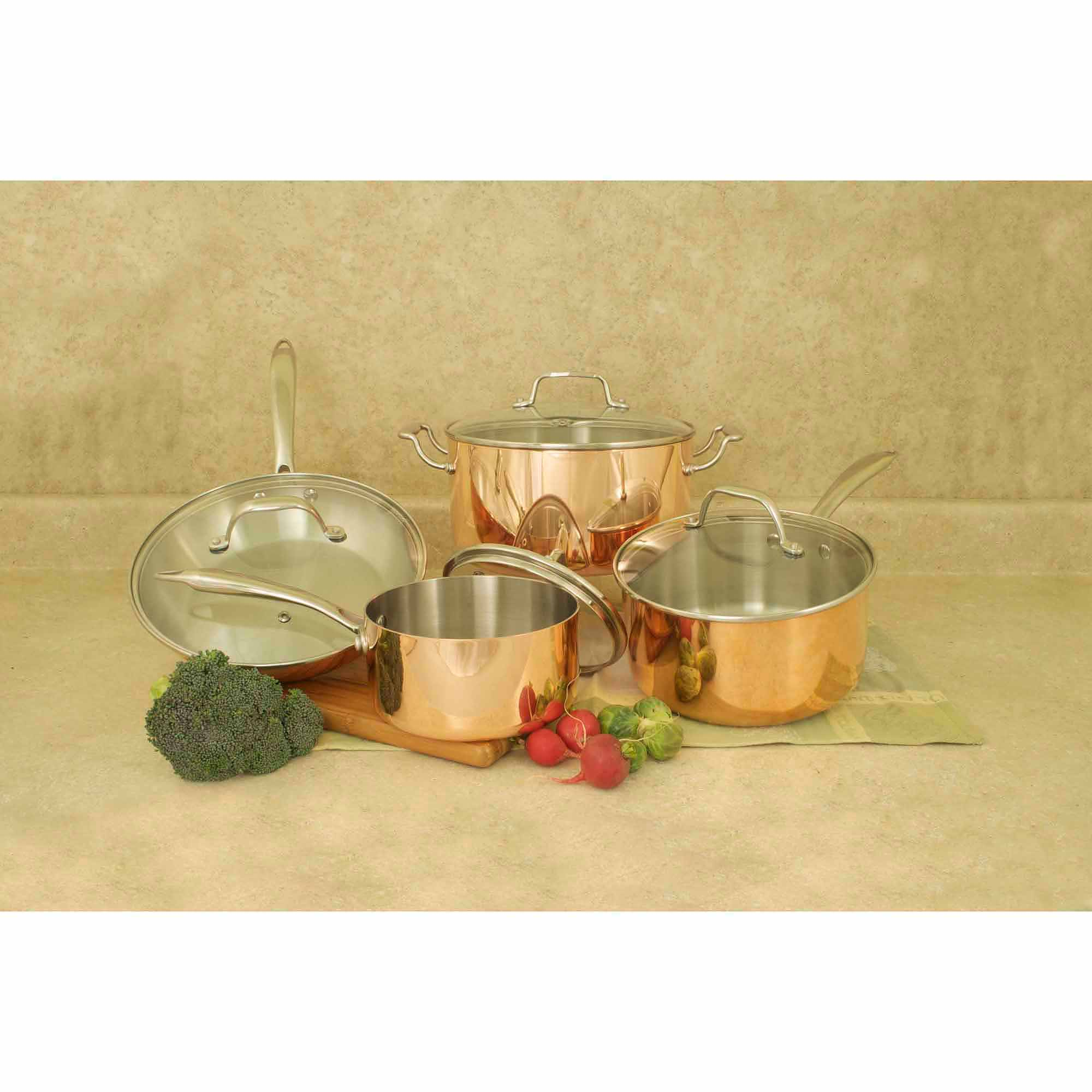 cook pro 8pc triply copper cookware set with glass lids