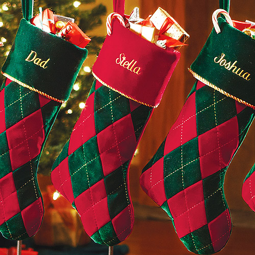 Personalized Velvet Diamond-Argyle Christmas Stocking - Walmart.com