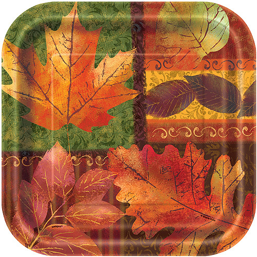 "Unique Seasonal Fall Beauty Square Thanksgiving 9"" Paper Plates, 8 CT"