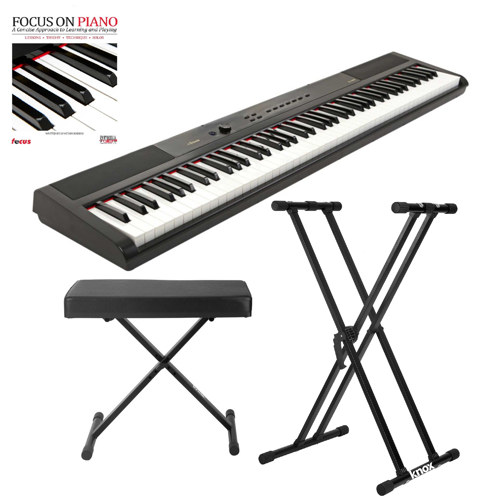 Artesia 88 Key 8 Portable Piano (Black) with Knox Piano Bench, Stand and Book