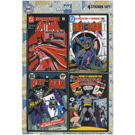 BATMAN, Officially Licensed Original Artwork - 4 Mini Sticker DECAL Set