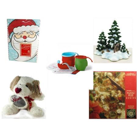 Christmas Fun Gift Bundle [5 Piece] - Gartner Dear Santa Letter 5 Count - Dept. 56 Village Accessory Wagonwheel Pine Grove - Hallmark Bake Like an Elf Kit with Recipe Cards - Cuddly Friends Noel Pup