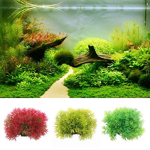 Heepo Plastic Artificial Water Green Grass Plant Aquarium Fish Tank Ornament Decor