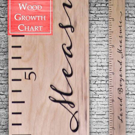 Back40Life | Premium Series - (Loved Beyond Measure) wooden growth chart height ruler (Weathered Natural)