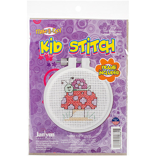 "Kid Stitch Snail and Mushroom Mini Counted Cross-Stitch Kit, 3"" Round, 11-Count"