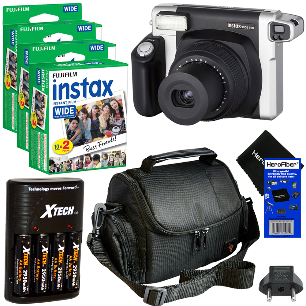 FujiFilm INSTAX 300 Wide-Format Instant Photo Film Camera (Black Silver) + Instax Wide Instant Film, Twin Pack... by Fujifilm