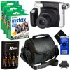 """Fujifilm INSTAX 300 Wide-Format Instant Photo Film Camera (Black/Silver) + Instax Wide Instant Film, Twin Pack (60 sheets) + 4 AA Rechargeable Batteries with Charger + Camera Case + HeroFiber® Cloth """"This kit includes 7 items. All items are backed with Hot Deals Electronics 1 Year 100% Satisfaction Guarantee- Fujifilm instax 300 Instant Photo Film Camera (Black/silver), 3 Fujifilm instax Wide Instant Color Films (60 sheets), 4 AA Batteries, Battery Charger, Camera Case, HeroFiber Cleaning ClothBring back the fun of instant photos! Instant film camera that you'll want to take everywhere Create images 2.4 x 3.9"""""""" in size on a 3.4 x 4.3"""""""" piece of filmLCD screen displays number of shots remaining, the exposure compensation, and flash mode Retractable 95mm lens features a fixed f/14 aperture with a construction of 2 components and 2 elementsFocusing ranges from 3.0 to 9.8' or 9.8' to infinity Lens ring dial for adjusting focus settingElectronic shutter release with speeds from 1/64 to 1/200 secondsLighten-darken control exposure compensation with 2/3 EV, Flash recharge time of 0.2 to 6 seconds and red LED flash ready indicator"""""""