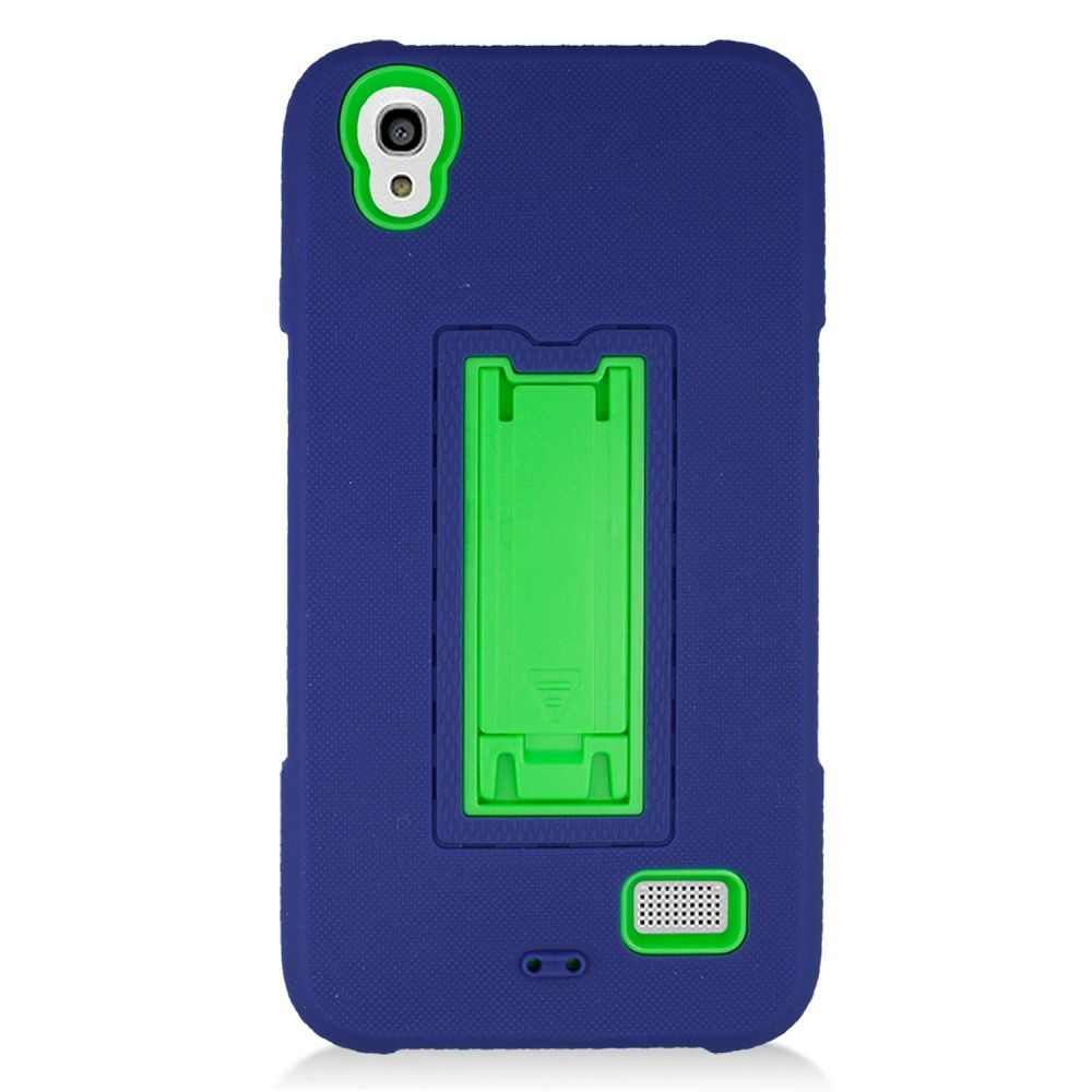 Huawei Pronto phone case by Insten Symbiosis Silicone Dual Layer Rubber Hard Case w/stand For Huawei Pronto - Blue/Green - image 4 de 4