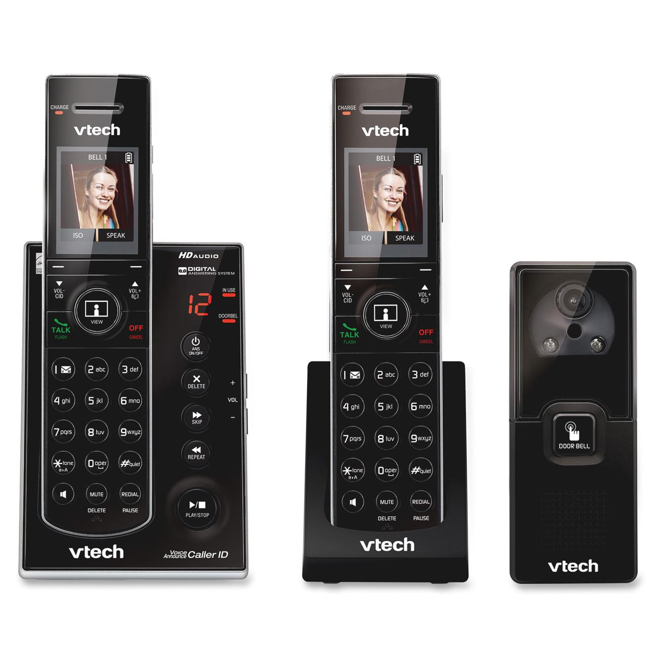 VTech IS7121-2 DECT 6.0 Expandable Cordless Phone with Audio/Video Doorbell and Answering System, Black, 2 Handsets with 1 Video Doorbell