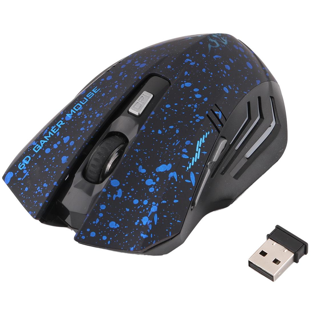 Unique Bargains Laptop 5-Button 2000DPI Wireless Optical Gamer Mouse Blue w USB Receiver