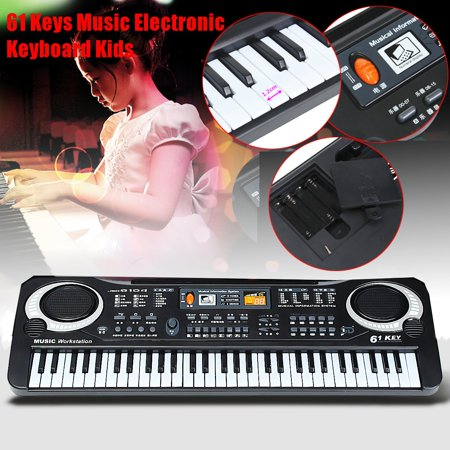 Black 61 Keys Music Electronic Keyboard Key Board Kids Gift Toy Electric Piano Organ