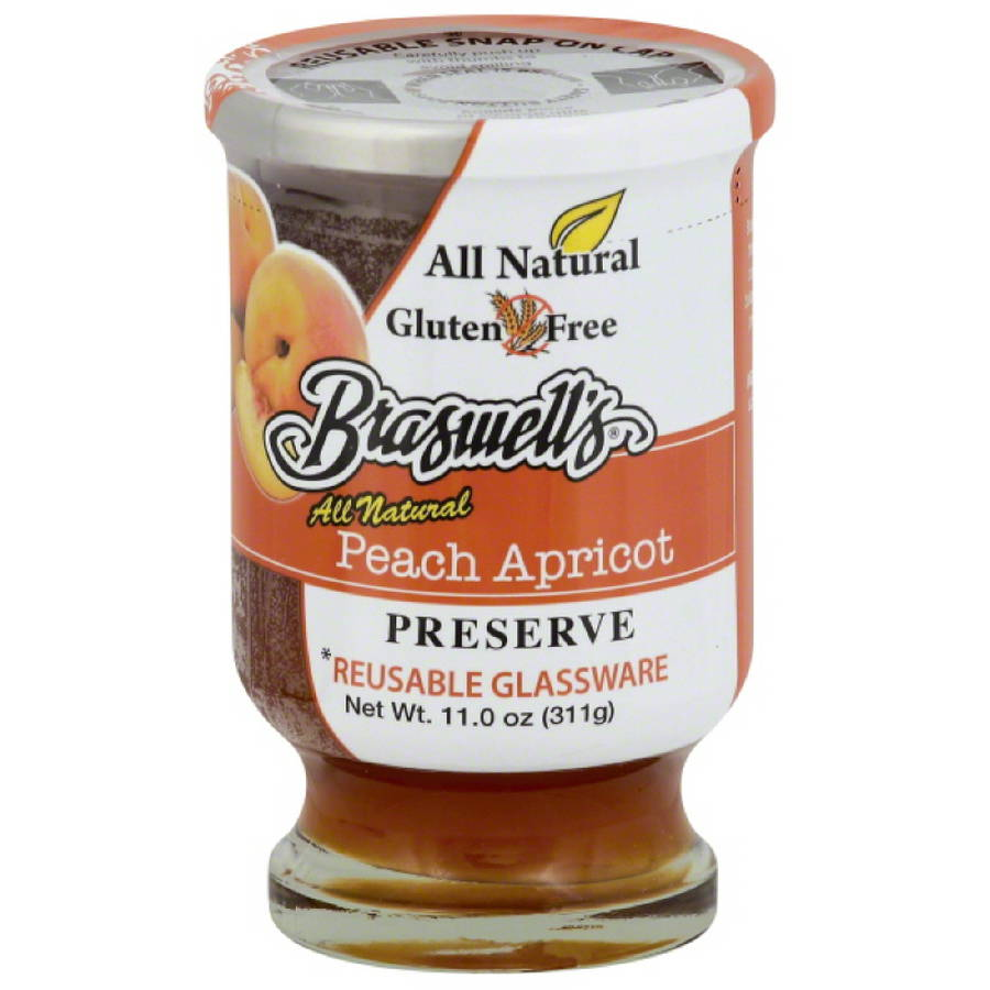 Braswell's All Natural Peach Apricot Preserve, 11.0 oz, (Pack of 6)