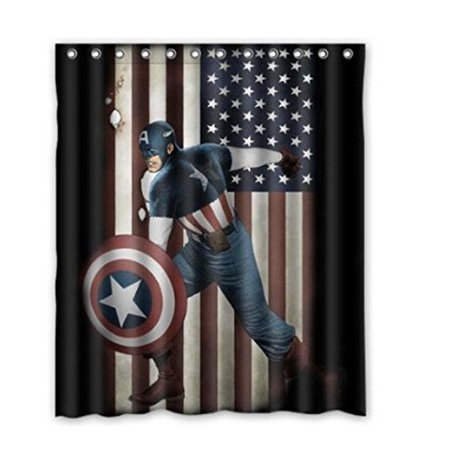 DEYOU Cartoon Anime Superhero Captain America Pattern Shower Curtain Polyester Fabric Bathroom Size 66x72 Inches