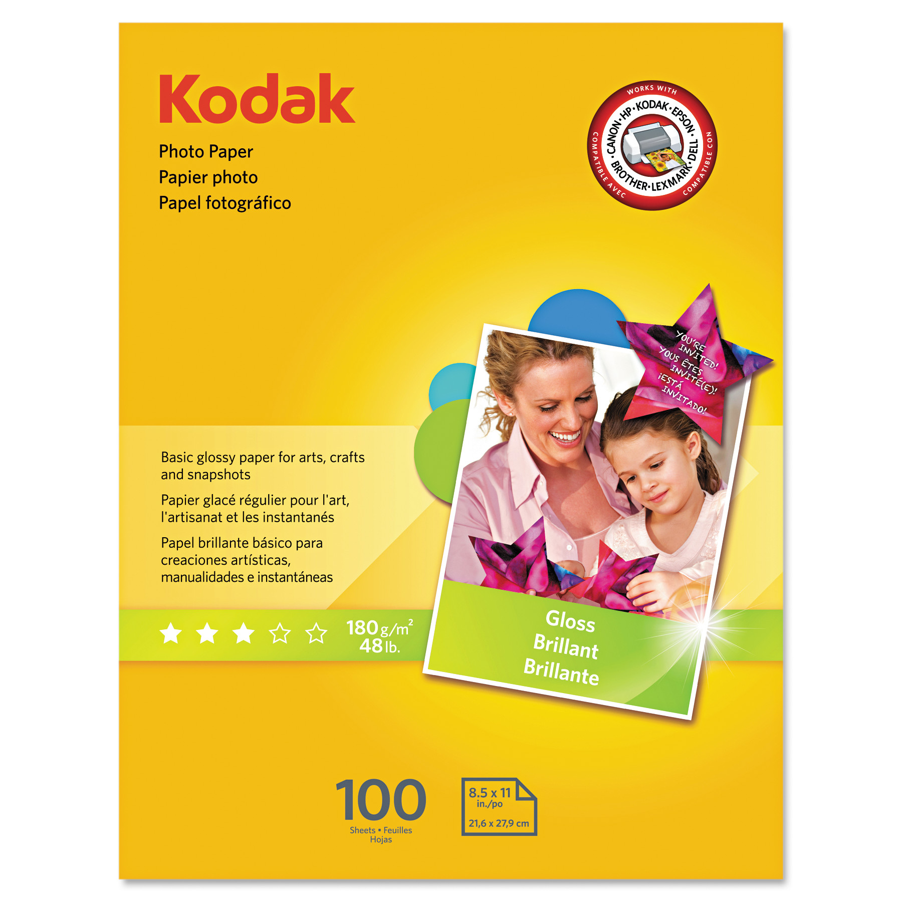 Kodak Photo Paper, 6.5 mil, Glossy, 8-1/2 x 11, 100 Sheets/Pack -KOD8209017